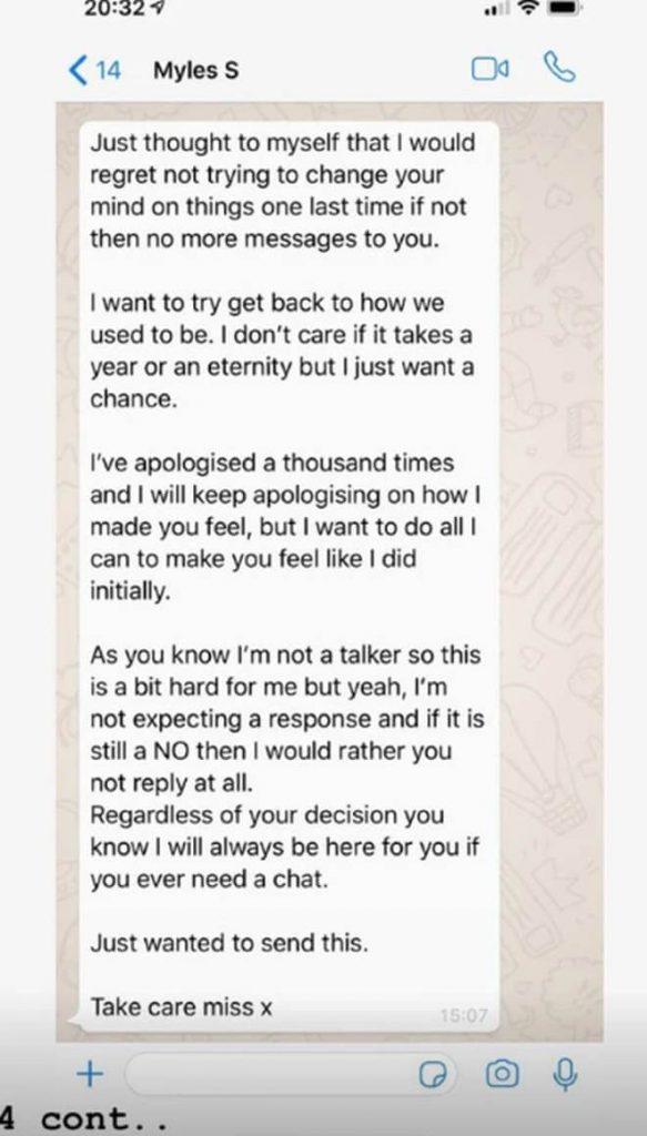 Myles messages to Gabby Allen