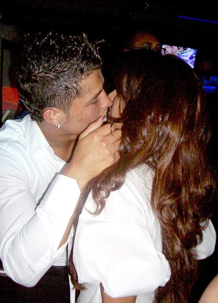 Bipasha Basu and Christiano Ronaldo kiss